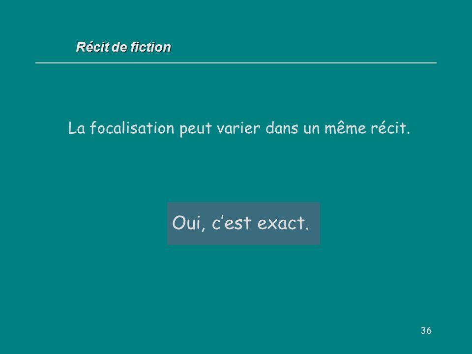 36 Récit de fiction La focalisation peut varier dans un même récit. Oui / Non ? Oui, cest exact.