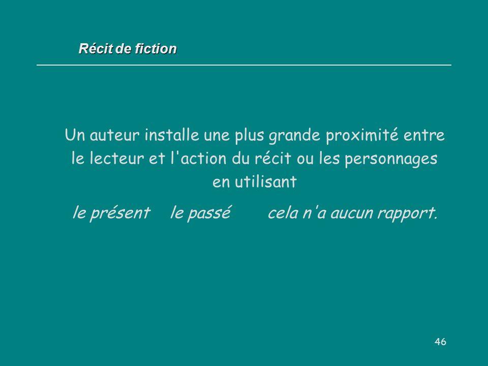 46 Récit de fiction Un auteur installe une plus grande proximité entre le lecteur et l'action du récit ou les personnages en utilisant le présentle pa