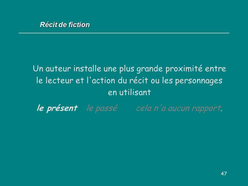 47 Récit de fiction Un auteur installe une plus grande proximité entre le lecteur et l'action du récit ou les personnages en utilisant le présentle pa