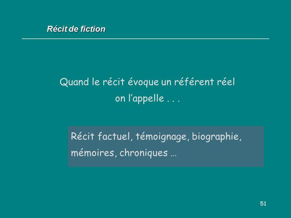 51 Récit factuel, témoignage, biographie, mémoires, chroniques … Récit de fiction Quand le récit évoque un référent réel on lappelle...