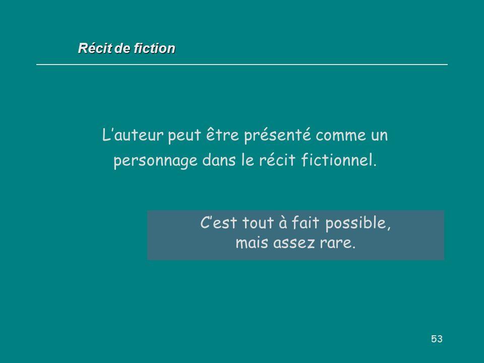 53 Récit de fiction Lauteur peut être présenté comme un personnage dans le récit fictionnel. Vrai / faux ? Cest tout à fait possible, mais assez rare.