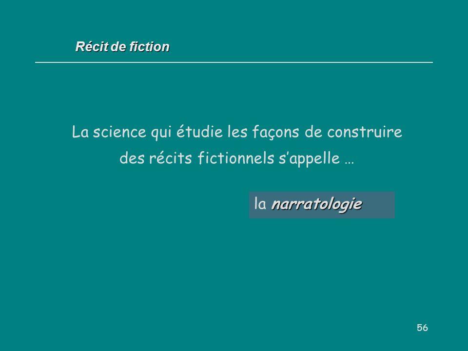 56 narratologie la narratologie Récit de fiction La science qui étudie les façons de construire des récits fictionnels sappelle …