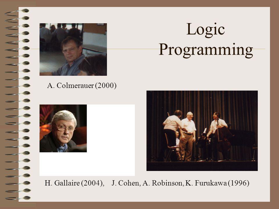 Logic Programming H. Gallaire (2004), J. Cohen, A. Robinson, K. Furukawa (1996) A. Colmerauer (2000)