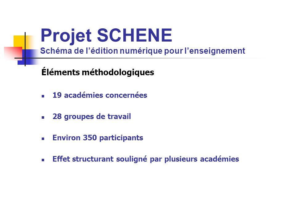Projet SCHENE Schéma de lédition numérique pour lenseignement Éléments méthodologiques 19 académies concernées 28 groupes de travail Environ 350 parti