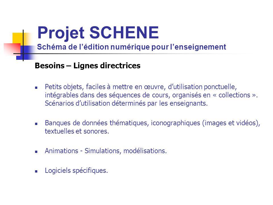 Projet SCHENE Schéma de lédition numérique pour lenseignement Besoins – Lignes directrices Petits objets, faciles à mettre en œuvre, dutilisation ponctuelle, intégrables dans des séquences de cours, organisés en « collections ».