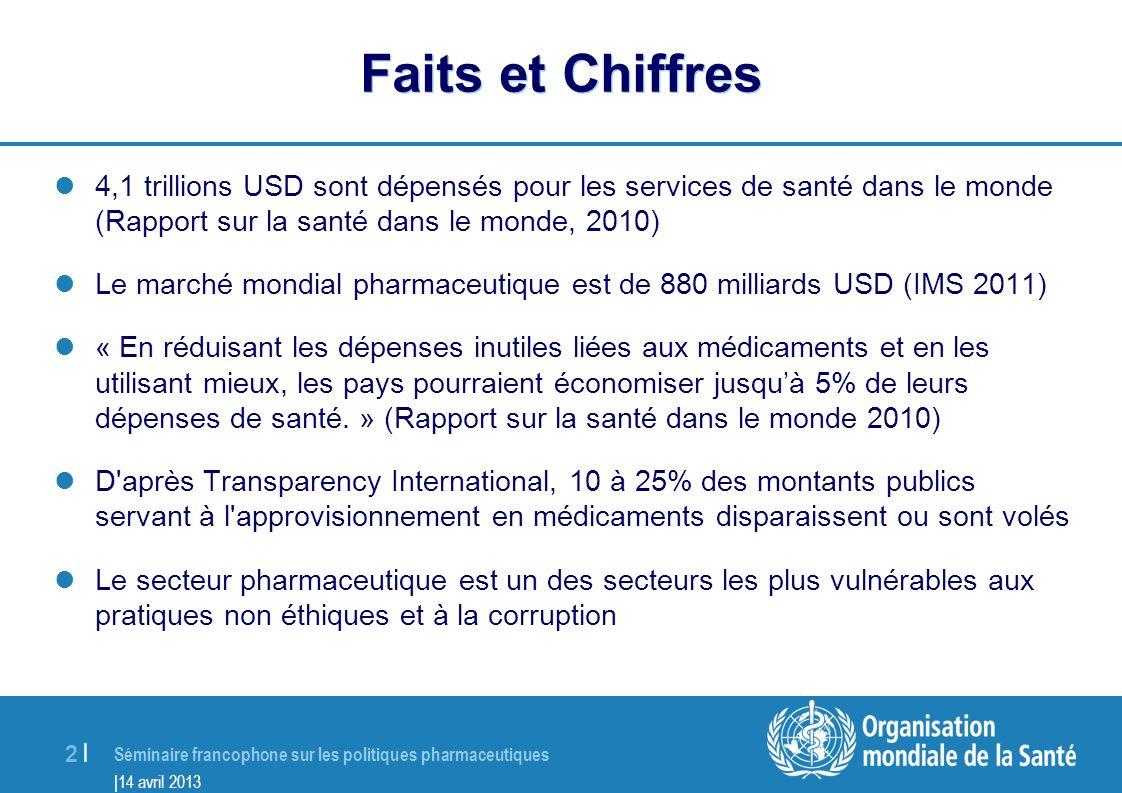 Séminaire francophone sur les politiques pharmaceutiques |14 avril 2013 3 |3 | Pourquoi un Programme de Bonne Gouvernance du secteur pharmaceutique.