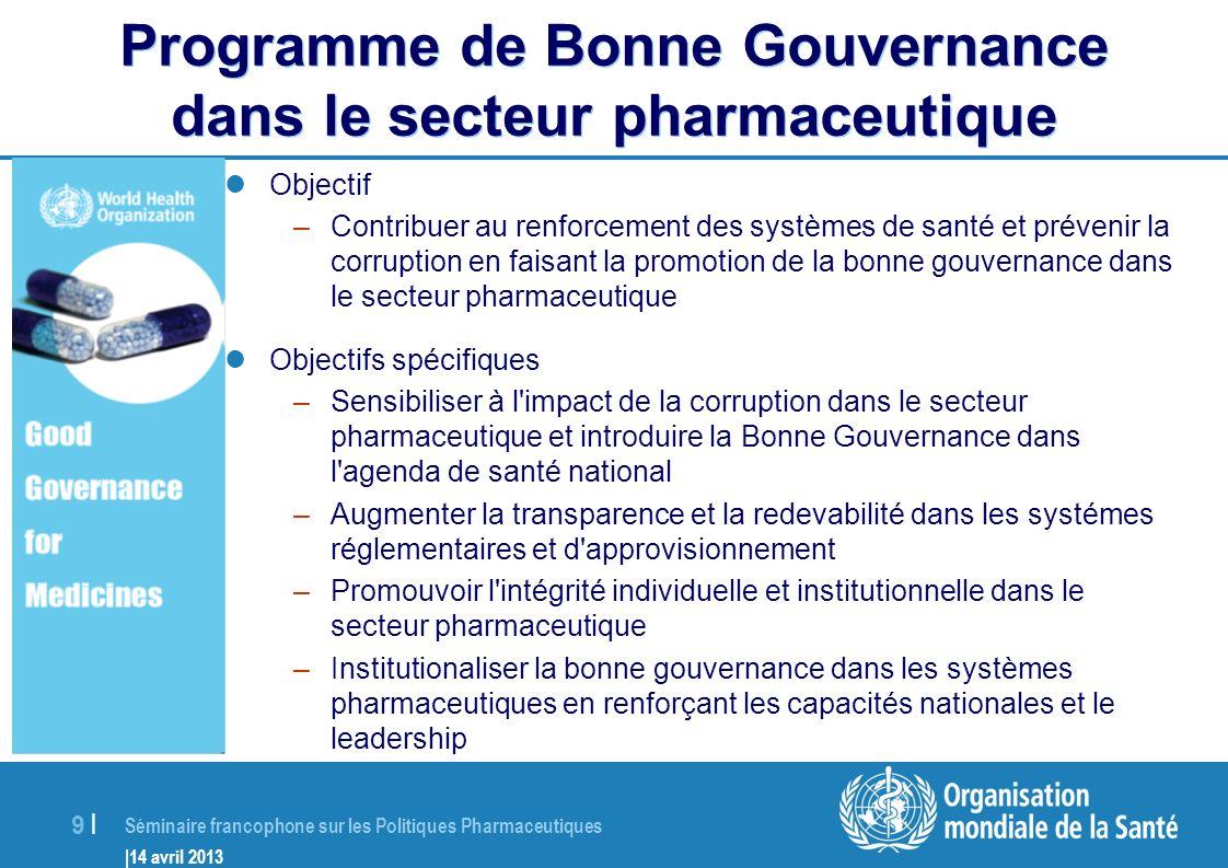 Séminaire francophone sur les Politiques Pharmaceutiques |14 avril 2013 20 | Objectif de lAlliance (MeTA) MeTA a pour objectif daméliorer laccès aux médicaments de qualité dans les pays par une plus grande transparence du secteur pharmaceutique Ceci est réalisé grâce à la collecte, lanalyse et la dissémination de données fiables pour: 1) sensibiliser les acteurs du secteur pharmaceutique dans les pays; 2) faciliter le dialogue pour la formulation de la politique pharmaceutique nationale