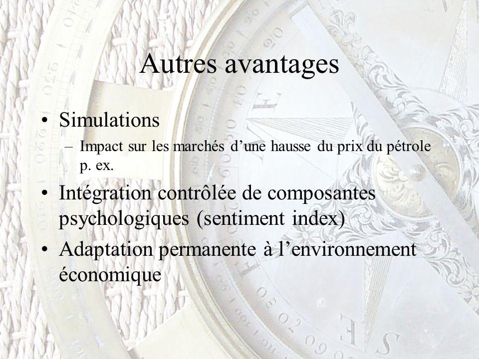 Autres avantages Simulations –Impact sur les marchés dune hausse du prix du pétrole p. ex. Intégration contrôlée de composantes psychologiques (sentim