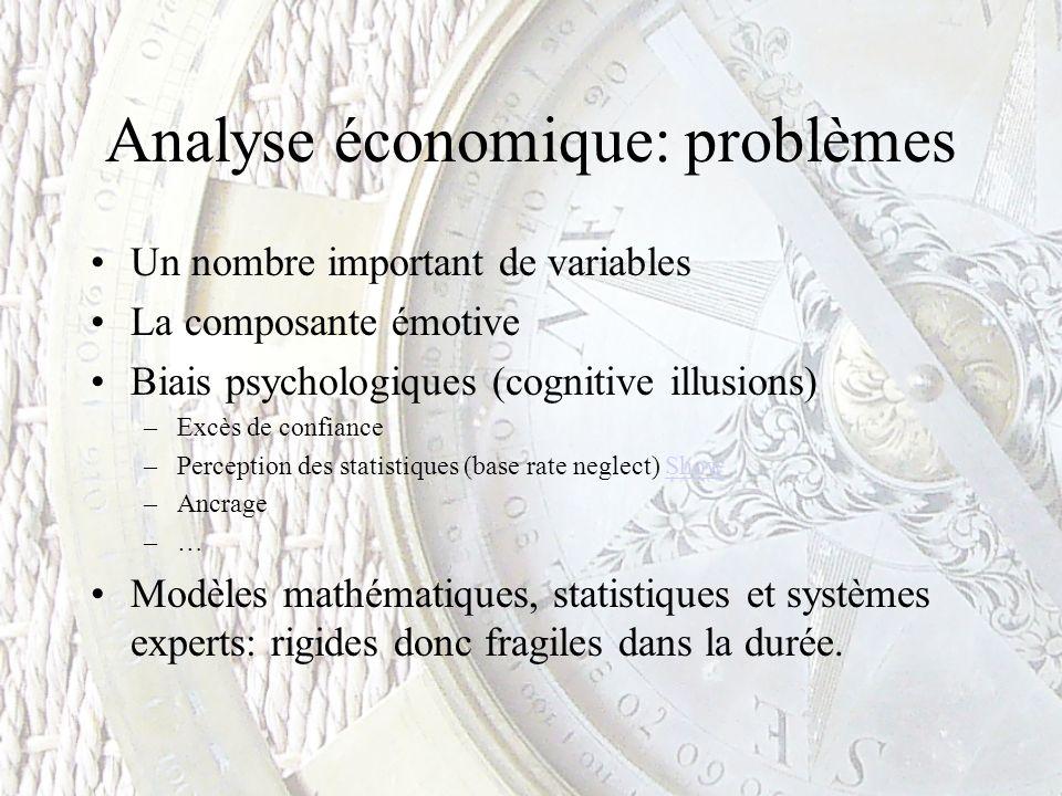 Analyse économique: problèmes Un nombre important de variables La composante émotive Biais psychologiques (cognitive illusions) –Excès de confiance –P