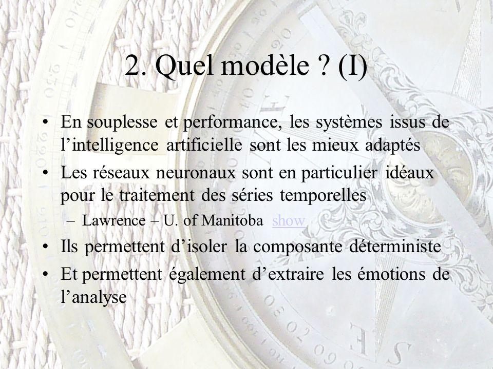 2. Quel modèle ? (I) En souplesse et performance, les systèmes issus de lintelligence artificielle sont les mieux adaptés Les réseaux neuronaux sont e