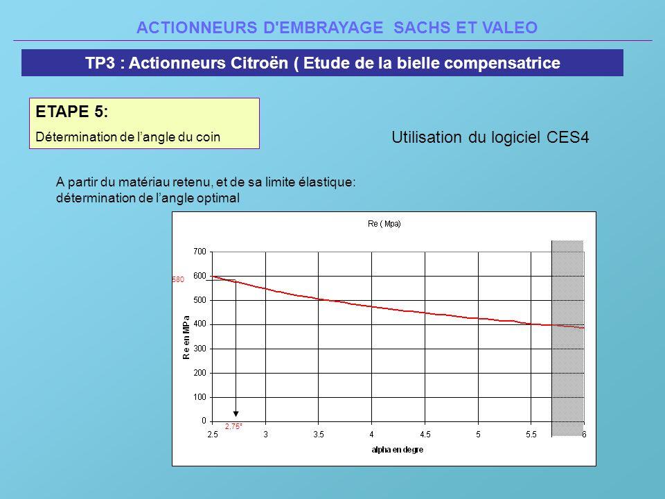 ACTIONNEURS D'EMBRAYAGE SACHS ET VALEO TP3 : Actionneurs Citroën ( Etude de la bielle compensatrice ETAPE 5: Détermination de langle du coin 2,75° 580