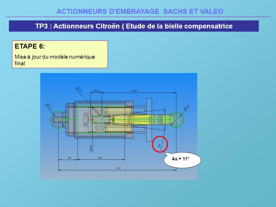 ACTIONNEURS D'EMBRAYAGE SACHS ET VALEO TP3 : Actionneurs Citroën ( Etude de la bielle compensatrice ETAPE 6: Mise à jour du modèle numérique final 4 =