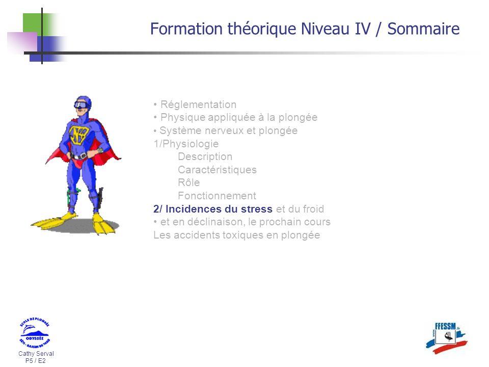 Cathy Serval P5 / E2 Formation théorique Niveau IV / Sommaire Réglementation Physique appliquée à la plongée Système nerveux et plongée 1/Physiologie
