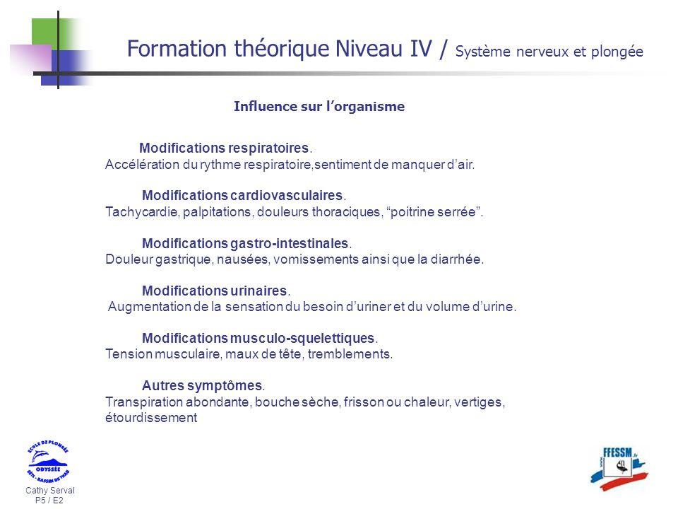 Cathy Serval P5 / E2 Formation théorique Niveau IV / Système nerveux et plongée Modifications respiratoires. Accélération du rythme respiratoire,senti
