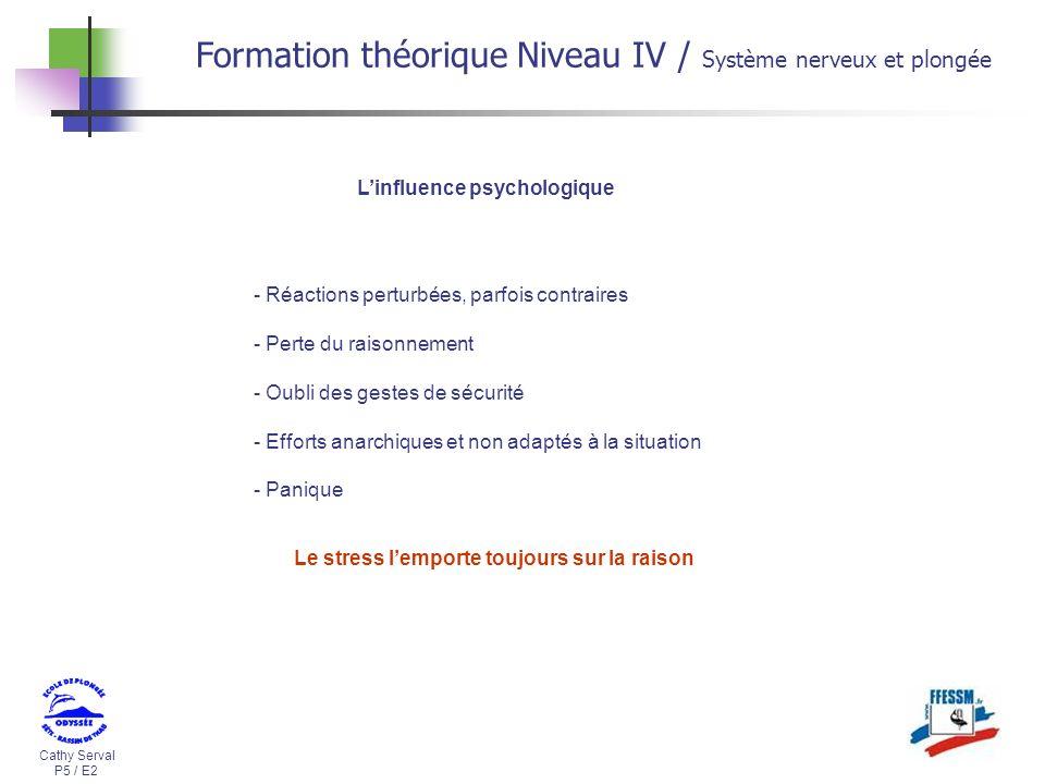 Cathy Serval P5 / E2 Formation théorique Niveau IV / Système nerveux et plongée - Réactions perturbées, parfois contraires - Perte du raisonnement - O