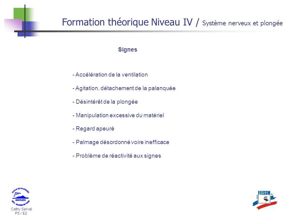 Cathy Serval P5 / E2 Formation théorique Niveau IV / Système nerveux et plongée Signes - Accélération de la ventilation - Agitation, détachement de la