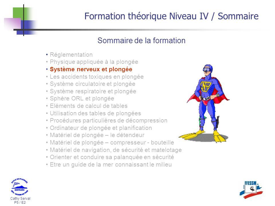 Cathy Serval P5 / E2 Formation théorique Niveau IV / Sommaire Sommaire de la formation Réglementation Physique appliquée à la plongée Système nerveux