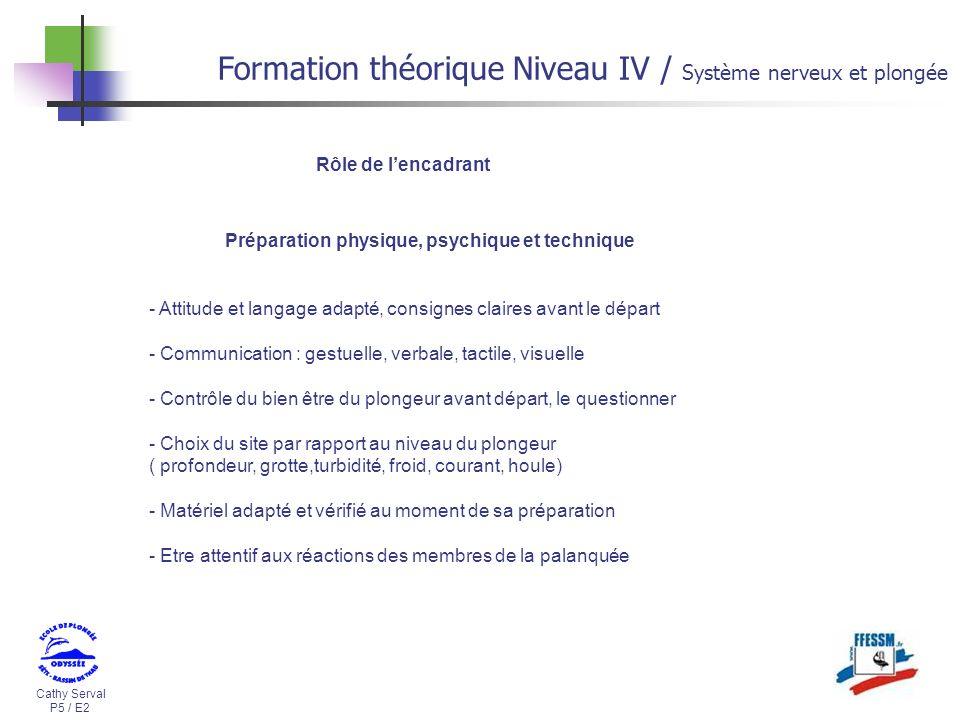 Cathy Serval P5 / E2 Formation théorique Niveau IV / Système nerveux et plongée - Attitude et langage adapté, consignes claires avant le départ - Comm