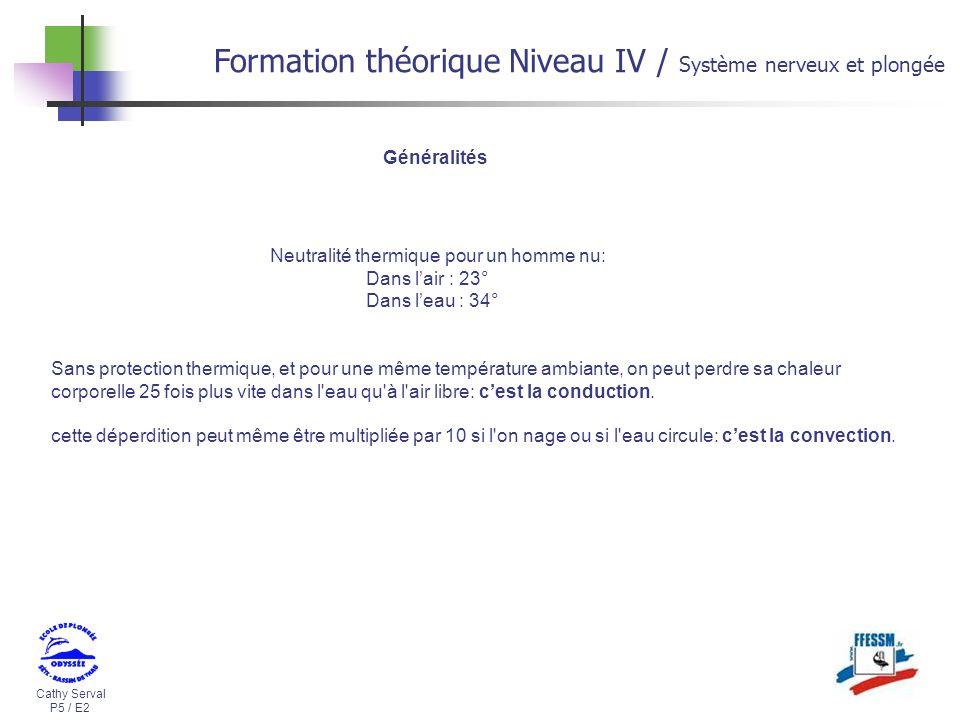 Cathy Serval P5 / E2 Formation théorique Niveau IV / Système nerveux et plongée Sans protection thermique, et pour une même température ambiante, on p