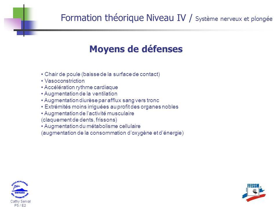 Cathy Serval P5 / E2 Formation théorique Niveau IV / Système nerveux et plongée Chair de poule (baisse de la surface de contact) Vasoconstriction Accé