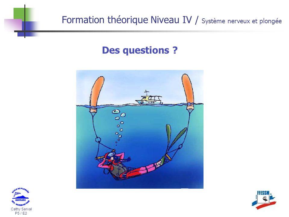 Cathy Serval P5 / E2 Formation théorique Niveau IV / Système nerveux et plongée Des questions ?
