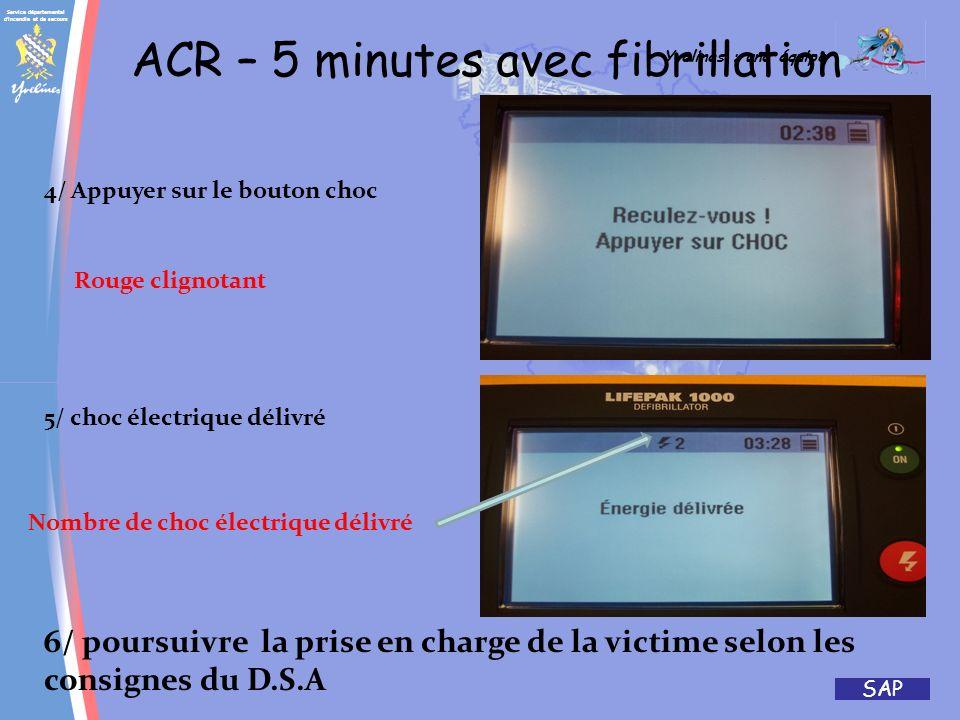 Service départemental d'incendie et de secours Yvelines : une équipe SAP ACR – 5 minutes avec fibrillation 1/Analyse en cours 3/ fibrillation détectée