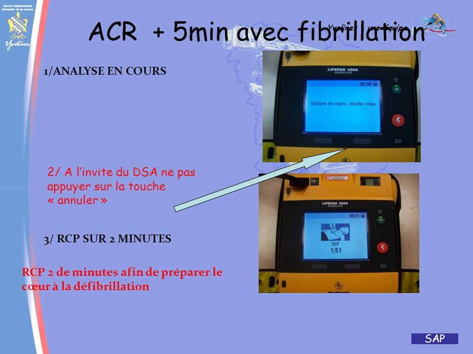 Service départemental d'incendie et de secours Yvelines : une équipe SAP ACR – 5 minutes avec fibrillation 4/ Appuyer sur le bouton choc Rouge clignot