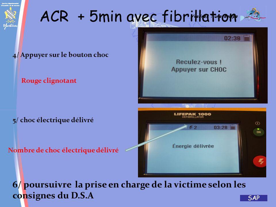 Service départemental d'incendie et de secours Yvelines : une équipe SAP ACR + 5min avec fibrillation 1/ANALYSE EN COURS 3/ RCP SUR 2 MINUTES RCP 2 de