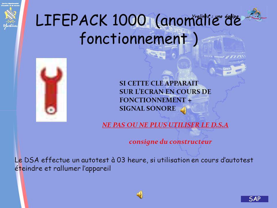 Service départemental d'incendie et de secours Yvelines : une équipe SAP ACR + 5min avec fibrillation 4/ Appuyer sur le bouton choc Rouge clignotant 5