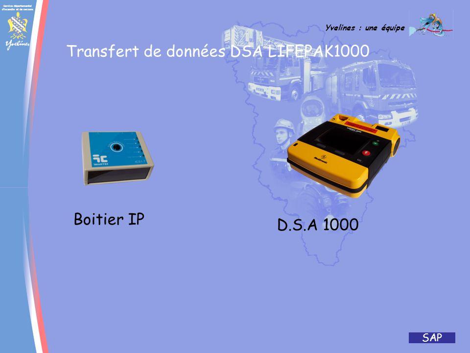 Service départemental d'incendie et de secours Yvelines : une équipe SAP LIFEPACK 1000 ( donnée constructeur) CARACTÉRISTIQUES PHYSIQUES Hauteur : 8,7