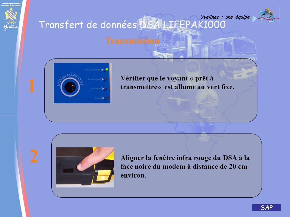 Service départemental d'incendie et de secours Yvelines : une équipe SAP Transfert de données DSA LIFEPAK1000 Boitier IP D.S.A 1000
