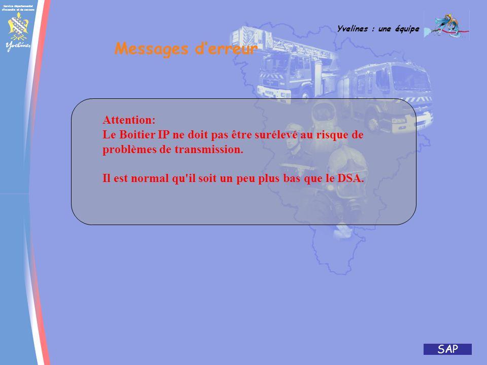 Service départemental d'incendie et de secours Yvelines : une équipe SAP ABCDABCD Appuyer sur le bouton rouge du boitier IP Eteindre le DSA Attendre 5