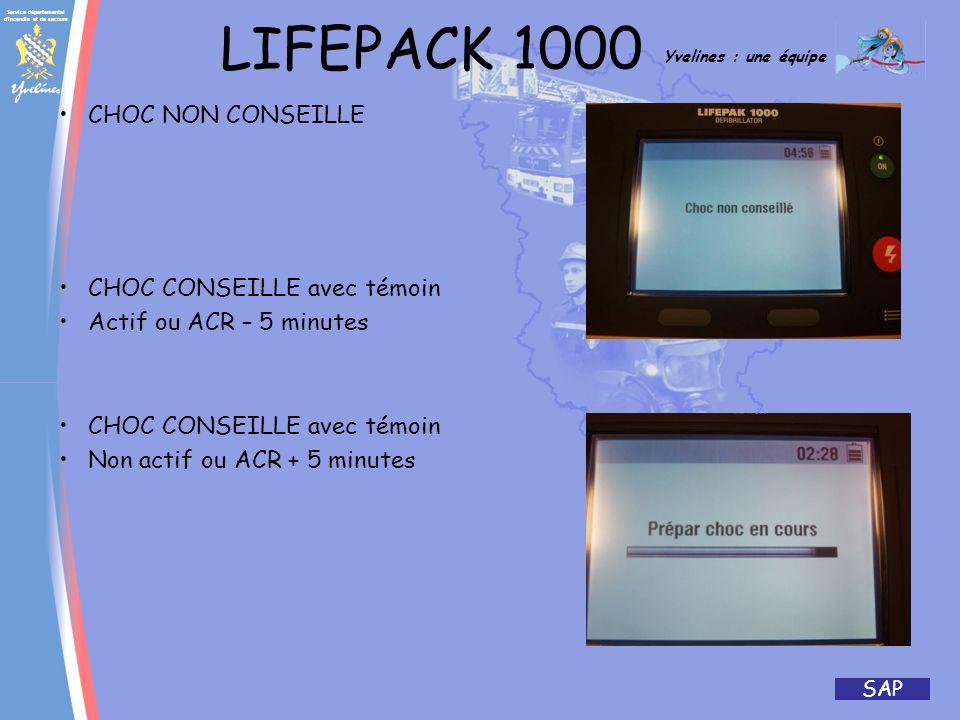 Service départemental d incendie et de secours Yvelines : une équipe SAP LIFEPACK 1000 (donnée constructeur) Batterie principale (batterie non rechargeable avec indicateur détat) : Type – Lithium/dioxyde de manganèse (Li/MnO2), 12,0 V, 6,2 amp-heures Capacité – Délivre généralement 440 chocs de 200 joules ou 1030 minutes de temps de fonctionnement avec une batterie neuve (370 chocs de 200 joules ou 900 minutes de temps de fonctionnement à 0 °C) Poids – 0,45 kg Durée de stockage – Lorsque la batterie a été stockée pendant 5 ans entre 20 °C et 30 °C, lappareil fonctionnera pendant 48 mois sur une énergie de réserve Durée de vie de réserve (pour des tests quotidiens uniquement) – Une batterie neuve alimente lappareil pendant 5 ans Batterie faible – Il reste au moins 30 chocs ou 75 minutes de temps de fonctionnement lors de la première apparition du symbole de batterie faible