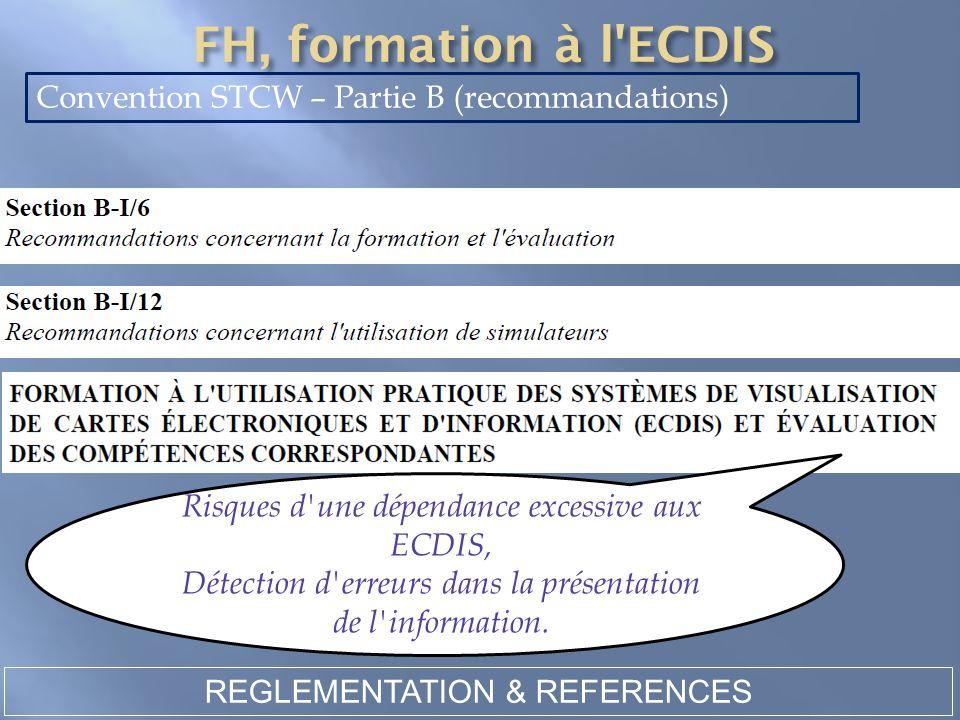 REGLEMENTATION & REFERENCES Convention STCW – Partie B (recommandations) Risques d'une dépendance excessive aux ECDIS, Détection d'erreurs dans la pré