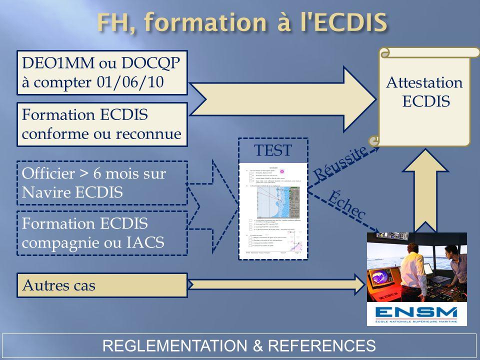 REGLEMENTATION & REFERENCES Autres cas DEO1MM ou DOCQP à compter 01/06/10 Formation ECDIS conforme ou reconnue Attestation ECDIS Officier > 6 mois sur