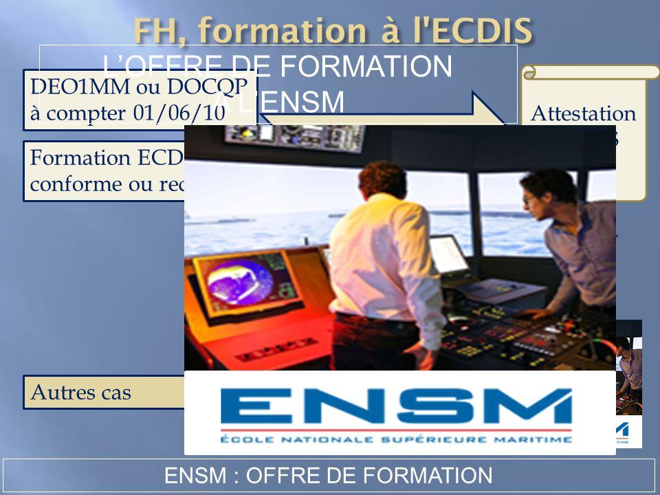 ATTESTATION Autres cas DEO1MM ou DOCQP à compter 01/06/10 Formation ECDIS conforme ou reconnue Attestation ECDIS LOFFRE DE FORMATION A LENSM ENSM : OF