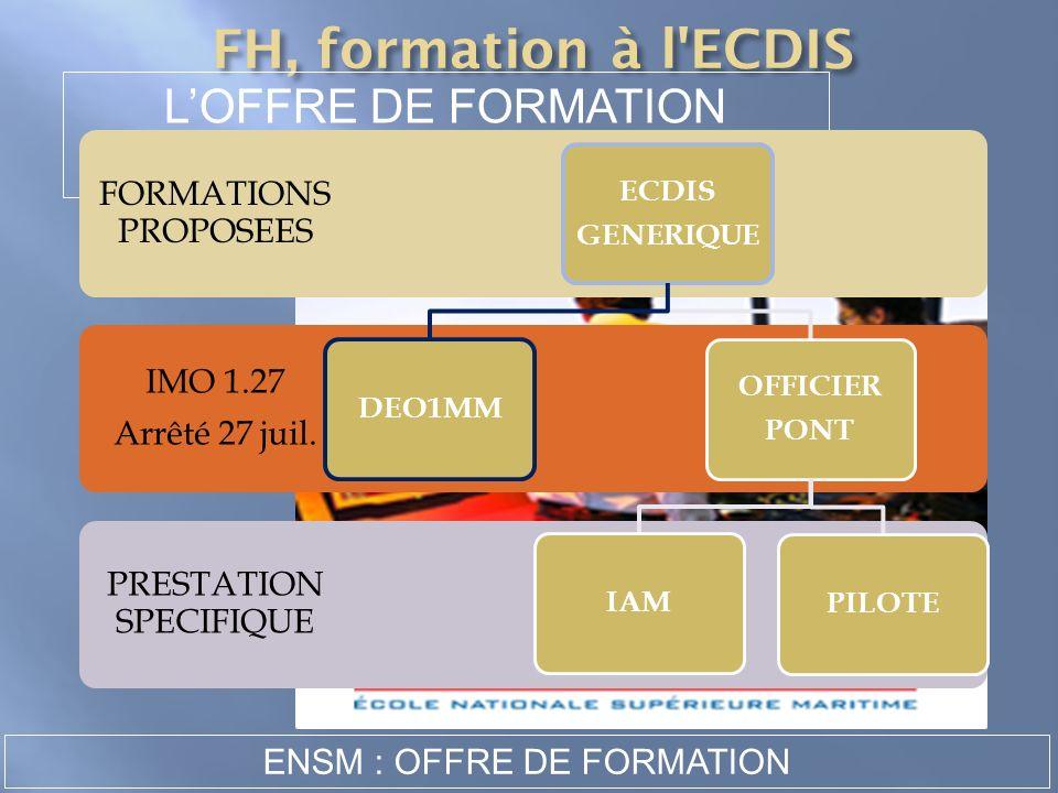 ATTESTATION LOFFRE DE FORMATION A LENSM PRESTATION SPECIFIQUE IMO 1.27 Arrêté 27 juil. FORMATIONS PROPOSEES ECDIS GENERIQUE OFFICIER PONT PILOTEIAMDEO