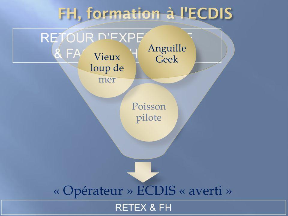 RETEX & FH RETOUR DEXPERIENCE & FACTEUR HUMAIN « Opérateur » ECDIS « averti » Poisson pilote Vieux loup de mer Anguille Geek