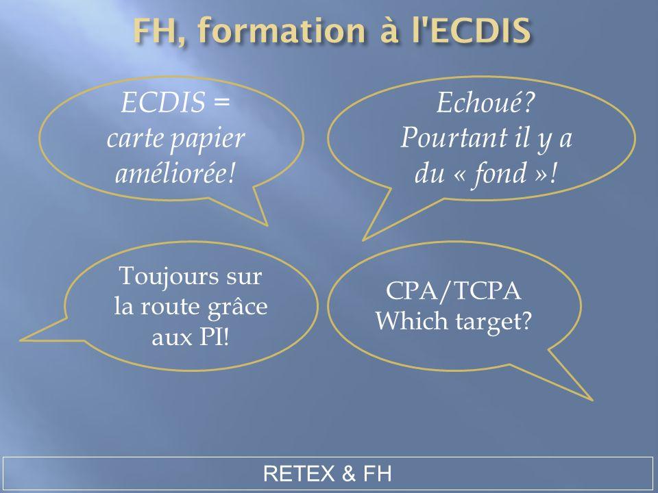 Toujours sur la route grâce aux PI! ECDIS = carte papier améliorée! RETEX & FH Echoué? Pourtant il y a du « fond »! CPA/TCPA Which target?
