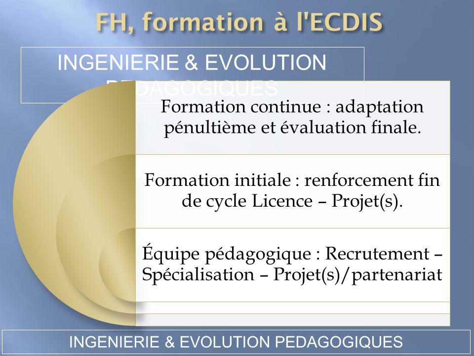 INGENIERIE & EVOLUTION PEDAGOGIQUES INGENIERIE & EVOLUTION PEDAGOGIQUES Formation continue : adaptation pénultième et évaluation finale. Formation ini