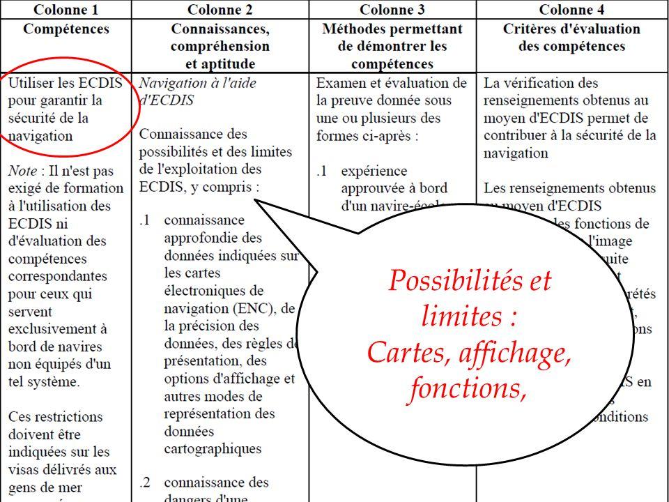 REGLEMENTATION & REFERENCES Convention STCW - Tableaux du Code STCW Possibilités et limites : Cartes, affichage, fonctions,