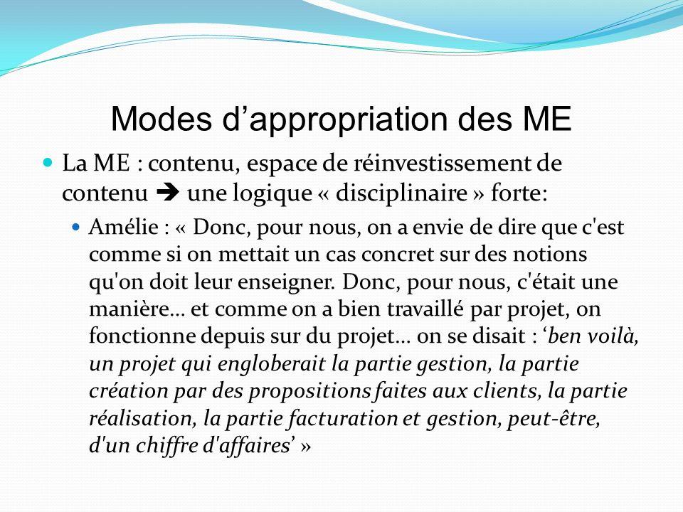 Modes dappropriation des ME La ME : contenu, espace de réinvestissement de contenu une logique « disciplinaire » forte: Amélie : « Donc, pour nous, on