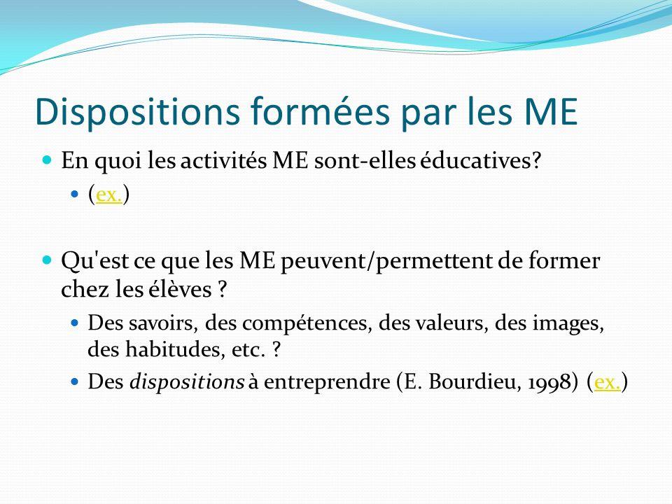 Dispositions formées par les ME En quoi les activités ME sont-elles éducatives? (ex.)ex. Qu'est ce que les ME peuvent/permettent de former chez les él