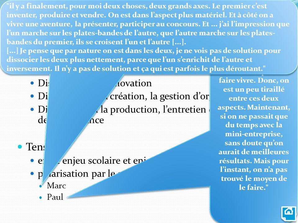 Dispositions formées par les ME Consciences des enjeux fondamentaux de lEE Dispositions à linnovation Dispositions à la création, la gestion dorganisa