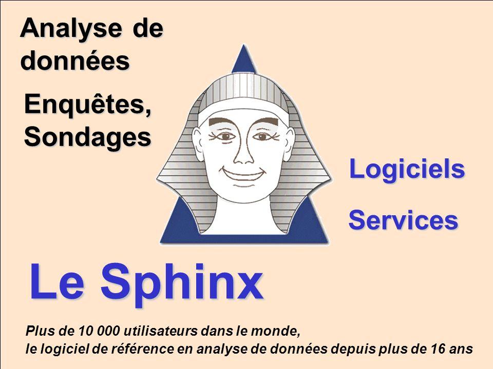Le Sphinx Enquêtes, Sondages Logiciels Services Analyse de données Plus de 10 000 utilisateurs dans le monde, le logiciel de référence en analyse de d