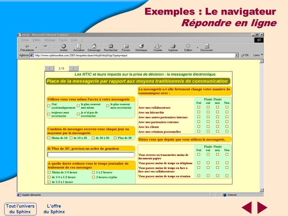 Exemples : Le navigateur Répondre en ligne Loffre du Sphinx Tout lunivers du Sphinx