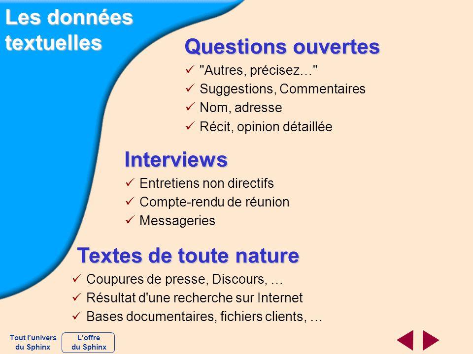 Les données textuelles Questions ouvertes Questions ouvertes