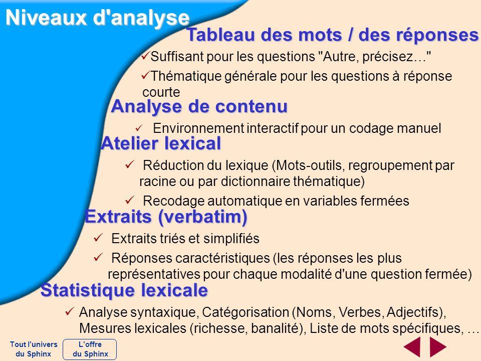 Niveaux d'analyse Analyse de contenu Environnement interactif pour un codage manuel Atelier lexical Réduction du lexique (Mots-outils, regroupement pa
