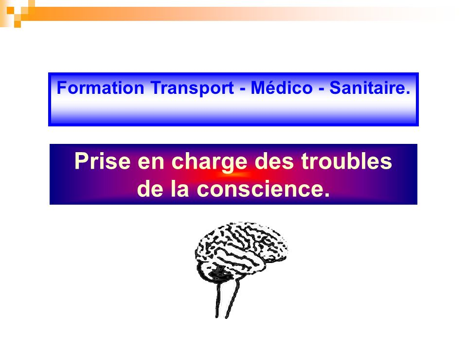 Prise en charge des troubles de la conscience. Formation Transport - Médico - Sanitaire.