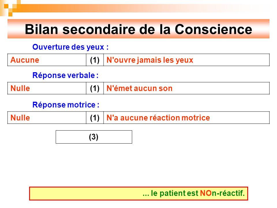 Bilan secondaire de la Conscience Ouverture des yeux : Réponse verbale : Réponse motrice :...
